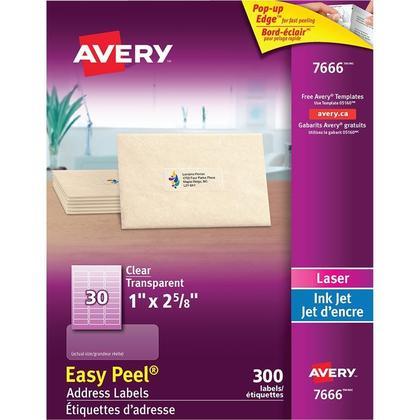 Avery® Étiquettes d'adresse transparentes avec Easy Peel® - 1 x 2-5/8