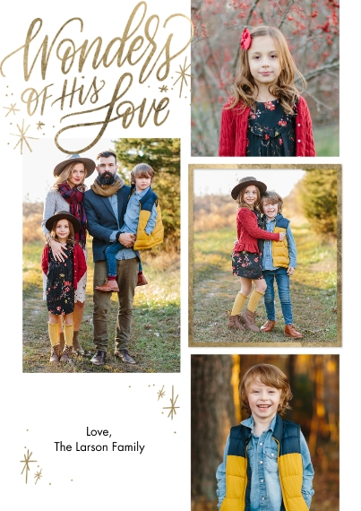 Christmas Photo Cards 5x7 Cards, Premium Cardstock 120lb with Elegant Corners, Card & Stationery -Christmas Wonders Love Script by Tumbalina