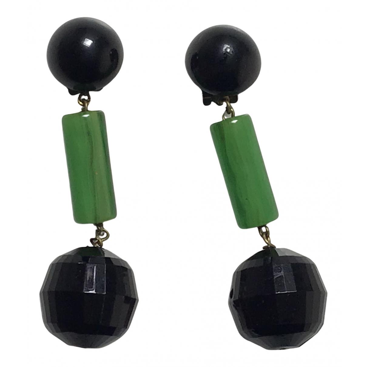 - Boucles doreilles Art Deco pour femme en metal - vert