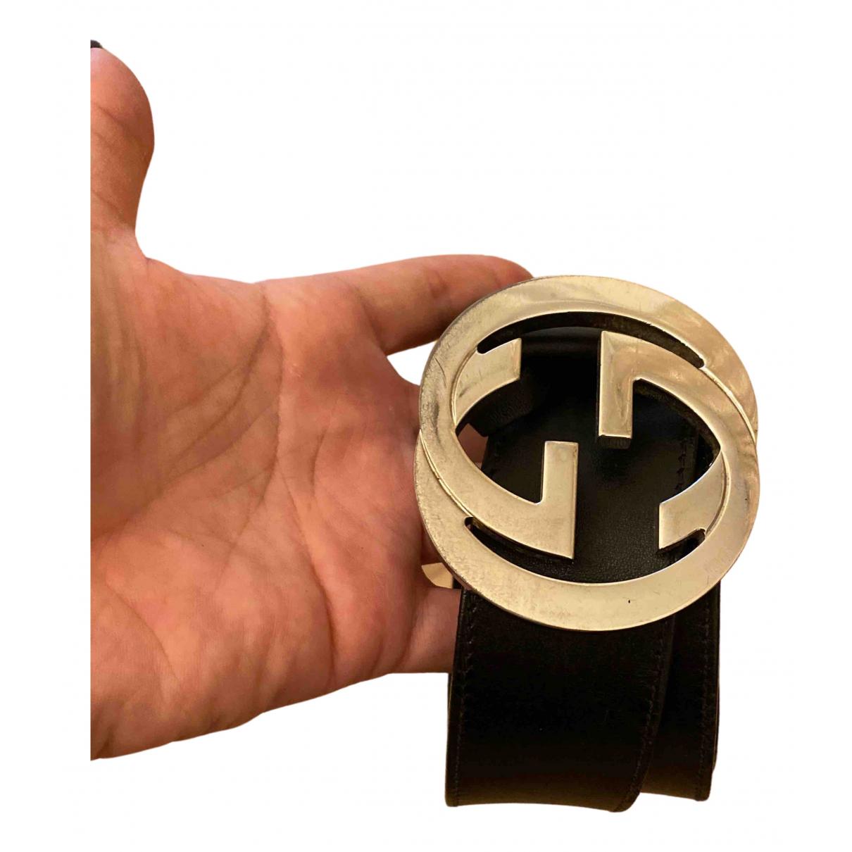 Gucci Interlocking Buckle Black Leather belt for Men 90 cm