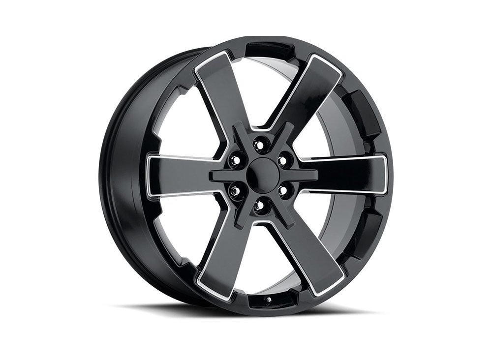 Factory Reproduction Series 45 Wheels 22x9 6x5.5 +24 HB 78.1 2018 Duel 6 Star Black Ball Milled w/Cap