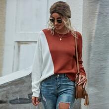 Jersey amplio de hombros caidos de color combinado