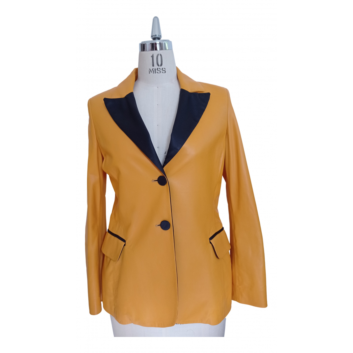 Non Signé / Unsigned N Yellow Leather Leather jacket for Women 40 FR