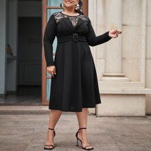 Plus Lace Yoke Foldover Detail Buckle Belted Dress