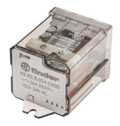 Finder , 24V ac Coil Non-Latching Relay DPNO, 16A Switching Current Flange Mount, 2 Pole