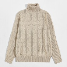 Men Solid High Neck Sweater