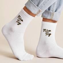 1pair Slogan Graphic Socks