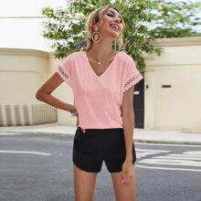 Camisetas Encaje en contraste Liso Bebe Rosa Casual