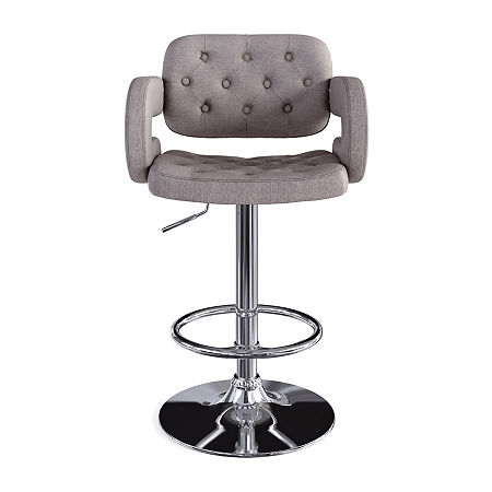 Corliving Corliving 2-pc. Upholstered Tufted Swivel Bar Stool, One Size , Gray