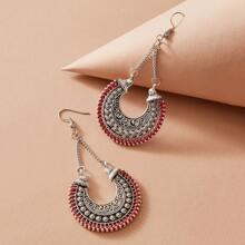 1pair Tribal Geometric Chain Earrings