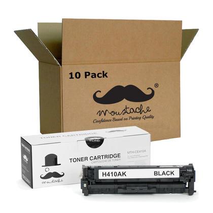 Compatible HP 305A CE410A Black Toner Cartridge - Moustache@ - 10/Pack