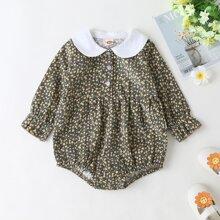 Baby Girl Corduroy Peter Pan Collar Ditsy Floral Print Bodysuit