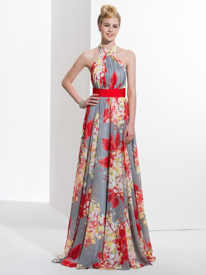 Ericdress A-Line Halter Pleats Printed Sashes Sweep Train Prom Dress