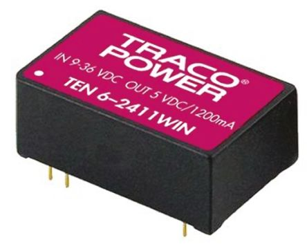TRACOPOWER TEN 6WIN 6W Isolated DC-DC Converter Through Hole, Voltage in 9 → 36 V dc, Voltage out 15V dc
