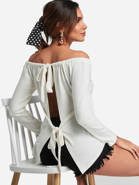 Yoins White Self-tie Design Off The Shoulder Backless Top