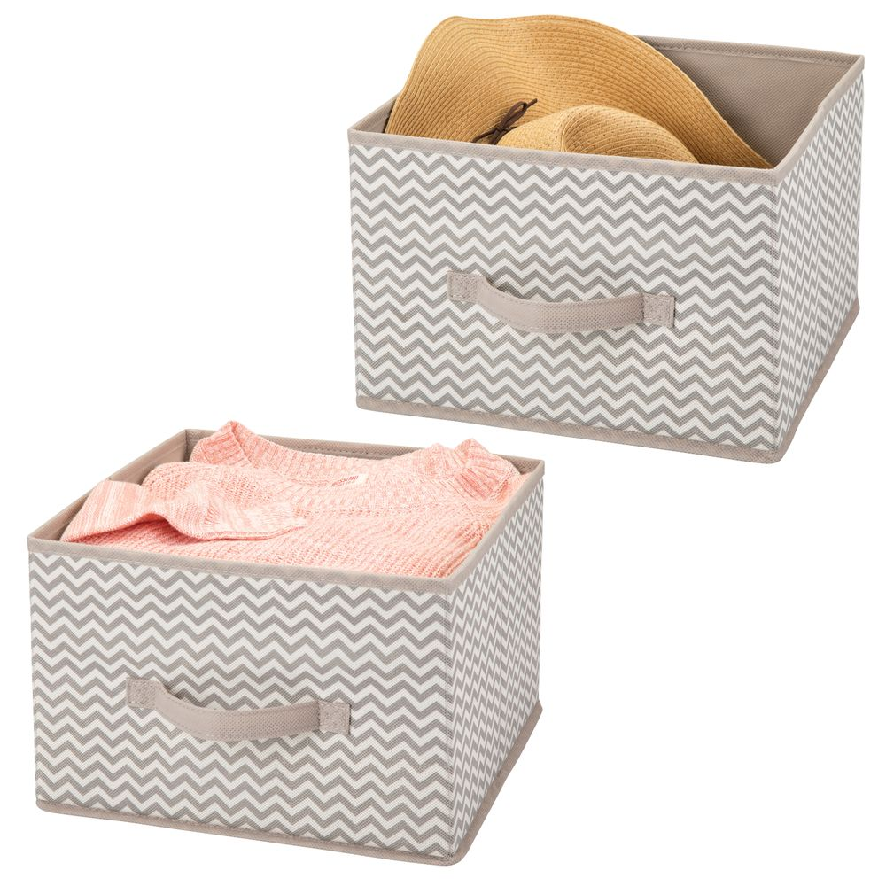 Collapsible Fabric Cube Storage Bin for Closet in Taupe/Natural, 11