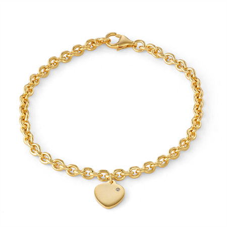 Girls Diamond Accent 14K Gold Over Silver Charm Bracelet, One Size , No Color Family
