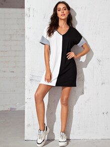 Drop Shoulder Colorblock Dress
