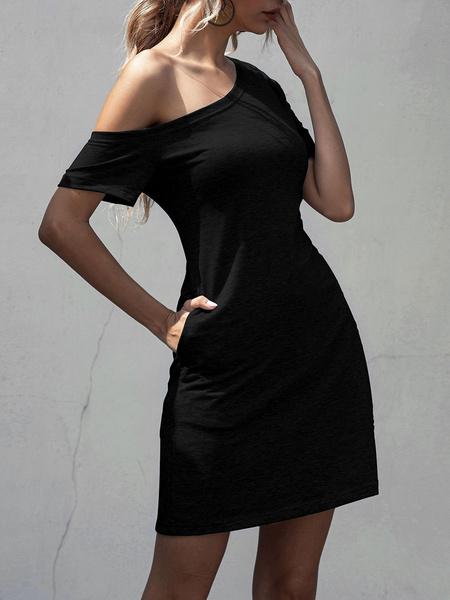 Milanoo Vestidos de manga corta de algodon Vestido de verano de un hombro