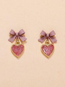 Heart & Bow Drop Earrings
