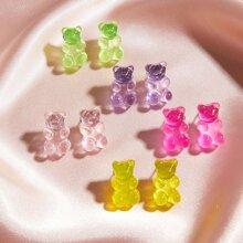 5pairs Bear Shaped Stud Earrings
