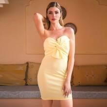 Double Crazy Einfarbiges figurbetontes Kleid mit Band vorn und Reissverschluss hinten