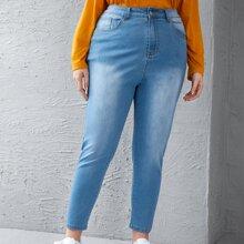 Skinny Jeans mit Bleichen Waschung