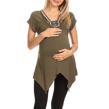 Maternity 'Myla' Embellished Tunic, Large , Green