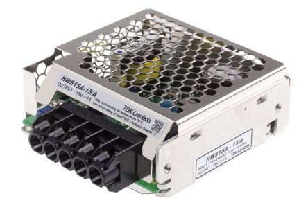 TDK-Lambda , 15W Embedded Switch Mode Power Supply SMPS, 15V dc, Enclosed