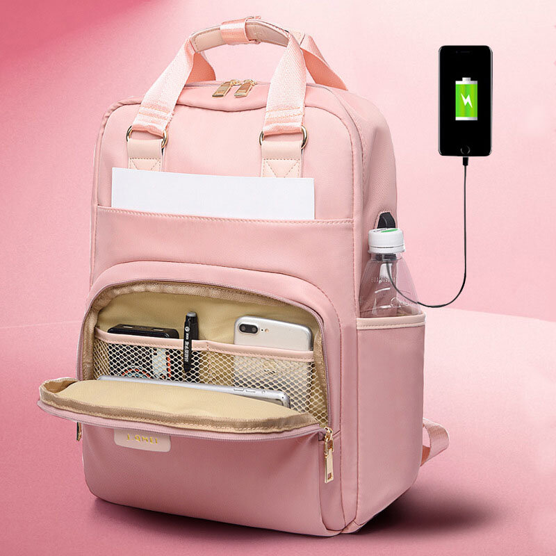 Women 15.6 Inch USB Charging Waterproof Multifunction Laptop Bag Backpack