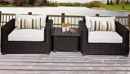 VENICE-03a-WHITE Venice 3 Piece Outdoor Wicker Patio Furniture Set