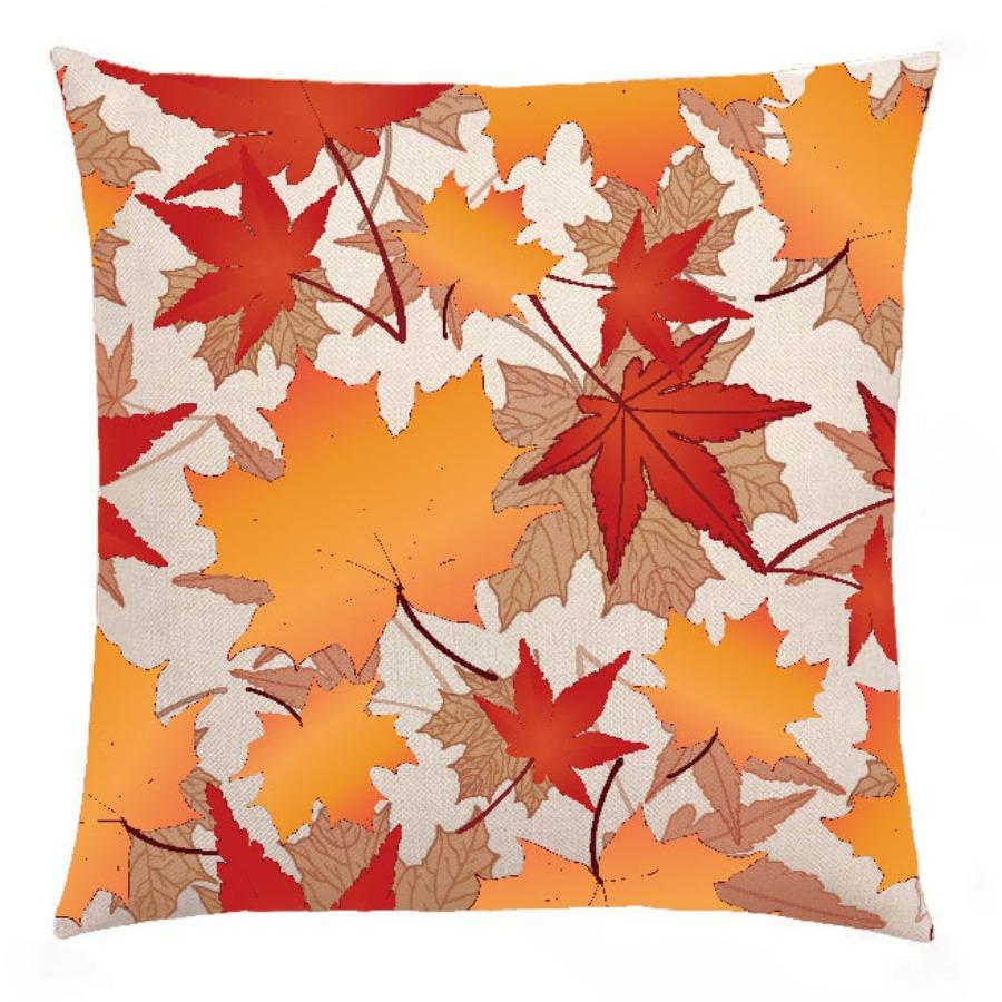 LW lovely Stylish Leaf Print Orange Yellow Decorative Pillow Case