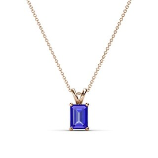 TriJewels Emerald Cut Gemstone Solitaire Pendant Necklace 14K Gold (Tanzanite - Rose)