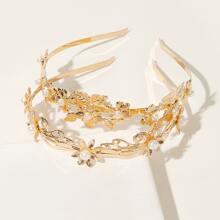 Haarband mit Kunstperlen und Blume Dekor 2 Stueck