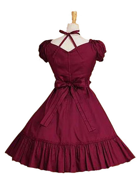 Milanoo Sweet Lolita Dress OP Burgundy Short Sleeve Lolita One Piece Dress
