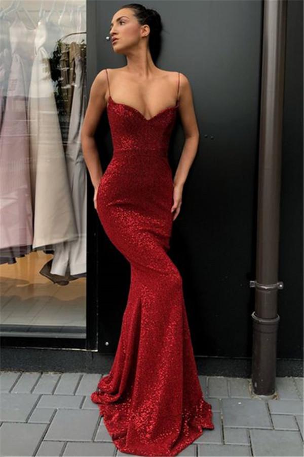 Paillettes gaine simple sexy longues robes de soiree | Robes de soiree a bretelles spaghetti economiques 2021 BC0920