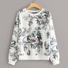 Sweatshirt mit botanischem Muster