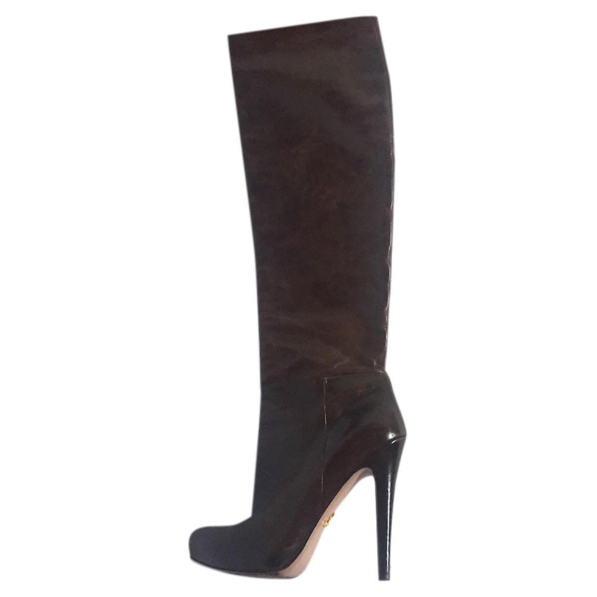 Prada \N Brown Leather Boots for Women 37.5 EU