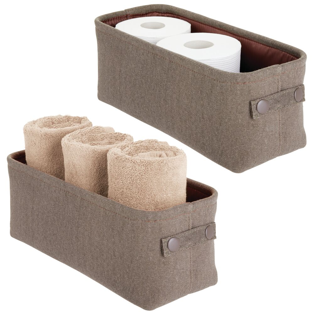 Small Fabric Bathroom Storage Bin with Coated Interior in Espresso, 15 x 6 x 5.5, Set of 2, by mDesign