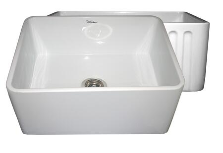 WHFLPLN2418-WHITE Reversible series fireclay sink with smooth front apron one side and fluted front apron on opposite