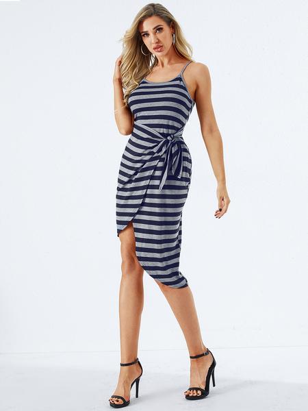 YOINS Blue Slit Design Striped Square Neck Spaghetti Strap Dress