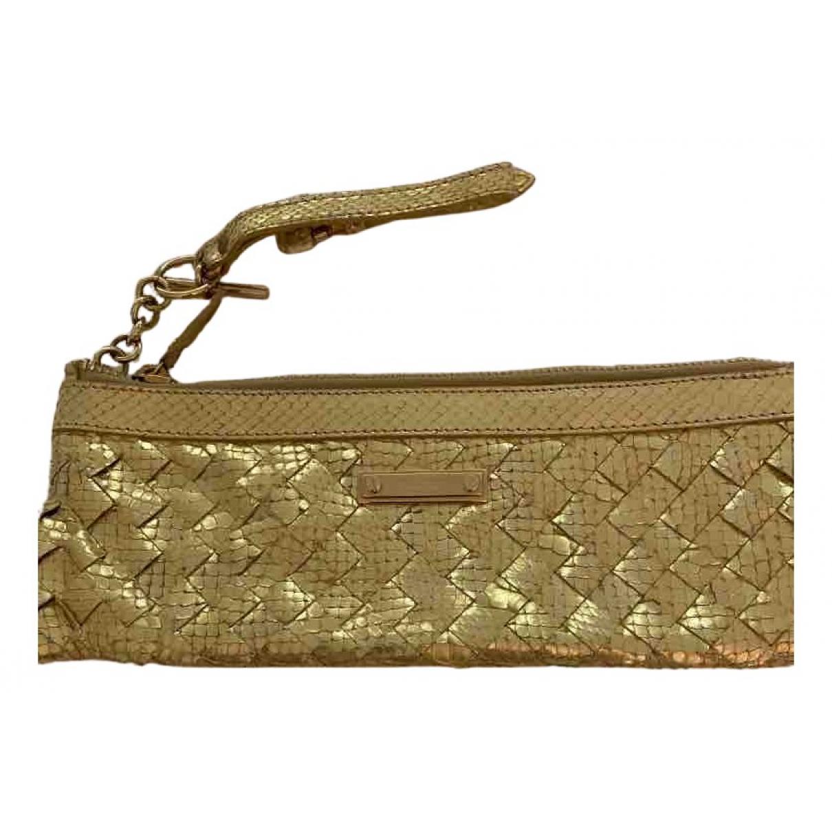 Burberry - Pochette   pour femme en python - dore