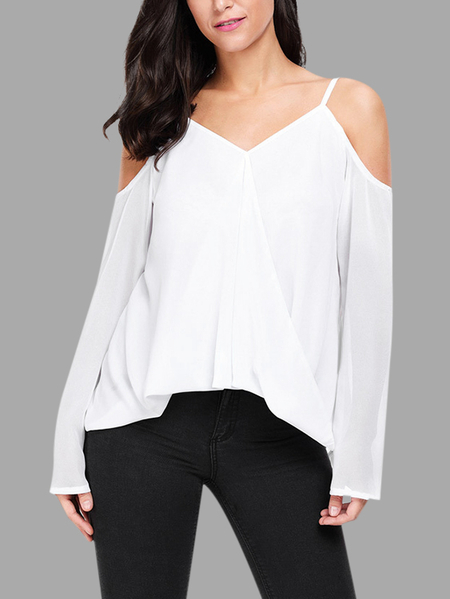 Yoins White Plain Cold Shoulder Long Sleeves Blouses