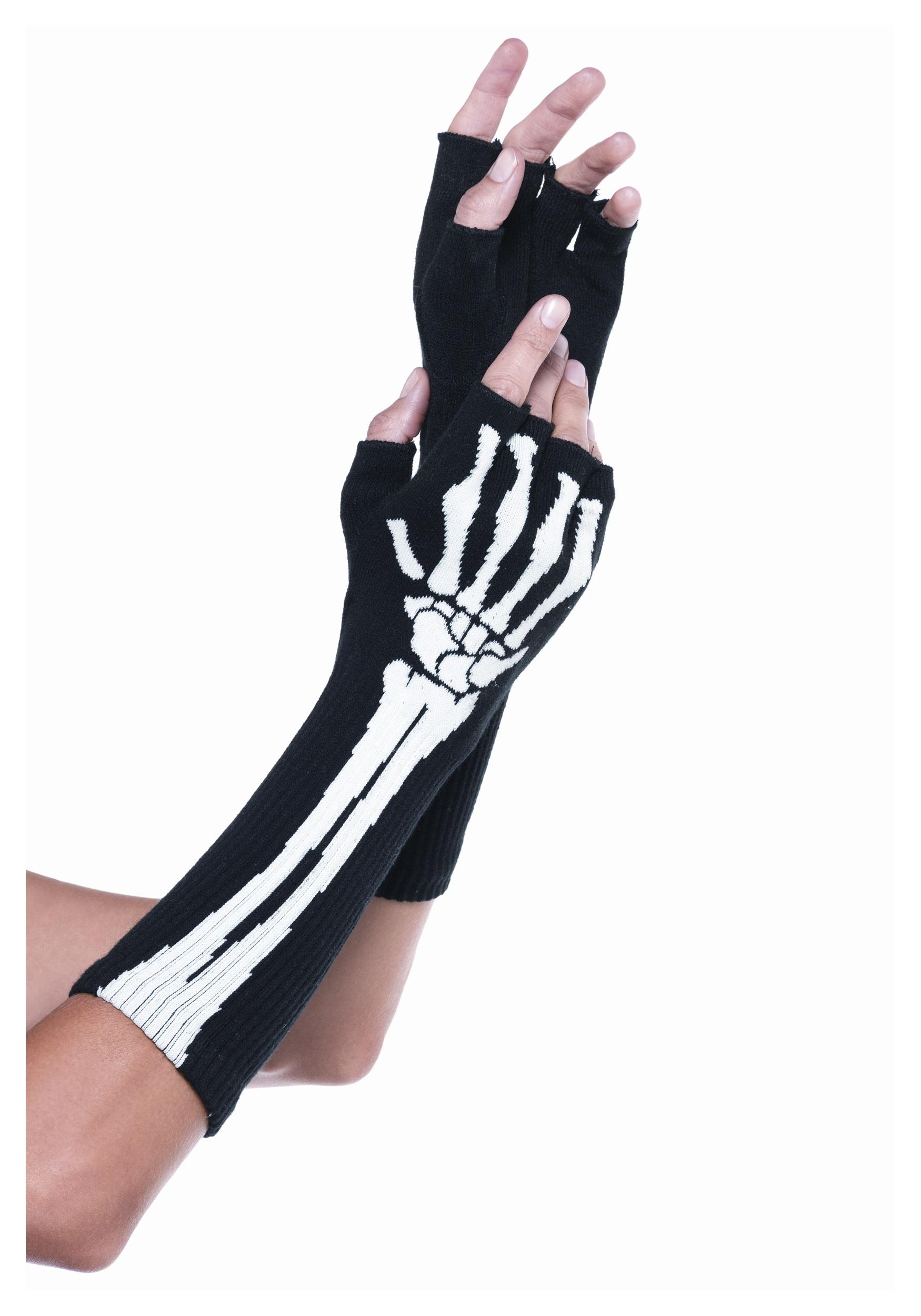 Women's Skeleton Fingerless Gloves