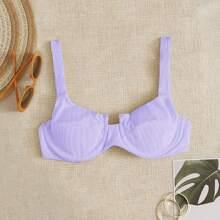 Geripptes Bikini Top mit Buegel