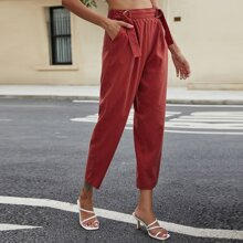 Solid Ring Belt Cropped Pants