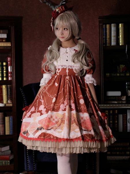 Milanoo Classic Lolita OP Dress Clock Chess Print Lace Ruffle Bow Burgundy Lolita One Piece Dress