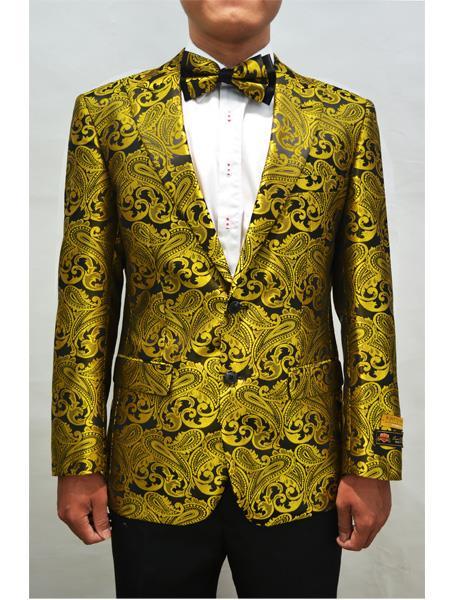 Alberto Nardoni Men Floral Fancy Blazer Sport Coat Bow Tie Prom Gold