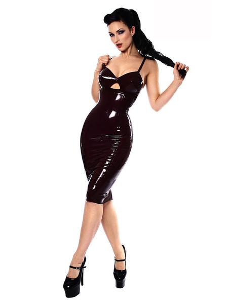 Milanoo Sexy Catsuits Black PVC Women's Strap Bodycon Dress