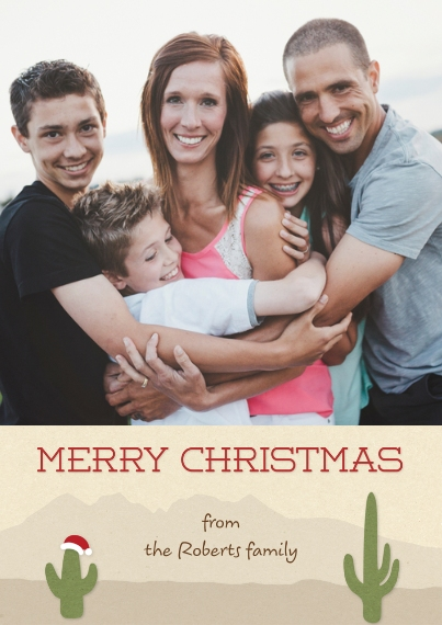 Christmas Photo Cards 5x7 Cards, Premium Cardstock 120lb with Scalloped Corners, Card & Stationery -Holiday Cactus